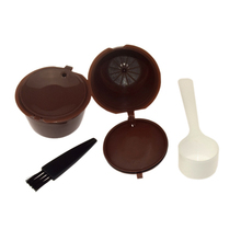 4 IN 1 Pack Coffee Filter Capsule Cup Recyclable Plastic Stainless Steel Coffee Filters With Spoon And Brush(China)