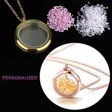 Custom Necklace Personalized 12 color Nature Stone Crystal Memory Living Glass Round Floating locket Medallion Pendant Necklace(China)