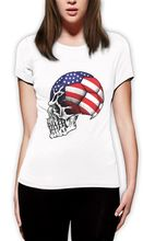 United States Flag World Cup Skull Women T-Shirt USA Footballer Soccerer 4th July Fashion Brand Hipster Slim Top