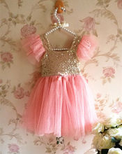 2017 New Cute Kids Children't Lace Dress Sleeveless Bling Pinks Princess Baby Girls Party Tulle Tutu Gown Fancy Dresses Hot Sale