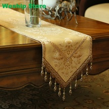 Fashion Home Amazing Imitated Silk Fabric Golden Jacquard Rural table runner Lace Luxury Table flag and Placemat(China)