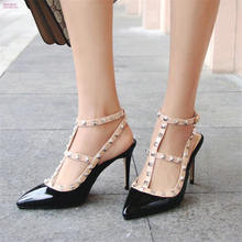 6b6bc1c0fb9 NAYIDUYUN 2018 Ankle Strap Sandals Womens Patent Leather High Heel Wedding  Party Pumps Pointed Toe Ankle Boots Casual Shoes