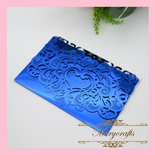 2016 Hot Sale 50pcs Heart Laser Cut Crafts Blue Metallic Paper Carved Wedding Invitations Laser Cut Invitation Card