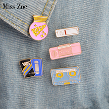 5pcs/set Enamel pins Pizza gift ball recorder tape 1% power VHS Brooch Button Pin Denim Jacket Pin Badge Gift Creative Jewelry(China)