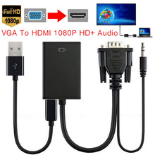DC5V VGA Male To HDMI Output 1080P FHD + Audio TV AV HDTV Video Cable Converter Adapter With USB Line Connecter 1920 x 1080(China)
