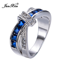 New Fashion Blue Female Ring White Gold Filled Jewelry Crossed Wedding Rings Engagement Rings For Women RW0266