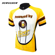 custom men 2017 cycling jersey yellow beer pro team clothing bike wear NOWGONOW racing road Triathlon mountain short sleeve