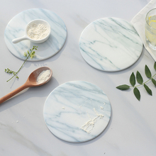 2pcs/pack Marble grain coaster cup mats pads ceramic pads home kitchen tools desktop non-slip luxury decor cup pad Diameter 15cm(China)