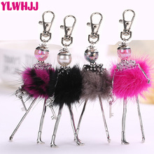 YLWHJJ brand 2017 Modern Design Cute Girl Doll keychain Pendant Rhinestone Women Crystal Bag Key chain Jewelry Feather Fitting(China)