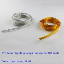 transparent 2*1.0mm clear/gold flat cable Lighting lamps electrical wire pendant chandelier lighting power cable free shipping