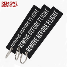 REMOVE BEFORE FLIGHT OEM Keychain Fob Keyings Special Notice Label Black Embroidery Key Ring Chain Aviation Gift 3 PCS/LOT