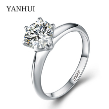 Authentic 18KRGP Stamp Solid Gold Ring Original Jewelry 8mm 2ct CZ Diamant Wedding Engagement Gold Color Rings For Women R2-168(China)