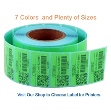 Green small 40mm x 20mm (1000 stickers) direct  thermal label rolls  6 colors available blank print stickers