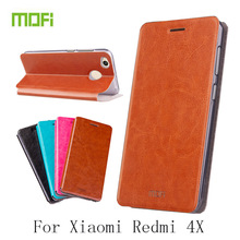 MOFi For Xiaomi Redmi 4X Case Flip Pu Leather Cover For Redmi 4X Book Stand Phone Cases Cover Bag(China)