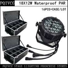 16PCS/18X12W waterproof led par light+flight case led  RGBW 4in1 outdoor led par   LED lamp stage  equipment DJ lights