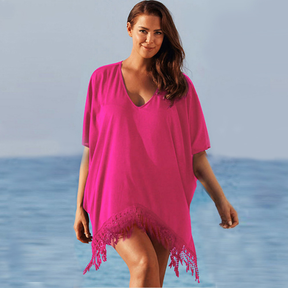 Plus Size 3xl Mini See Through Chiffon Dress For Women Sexy Tassel Crochet Tunic Beach Dress Beach Wear 13