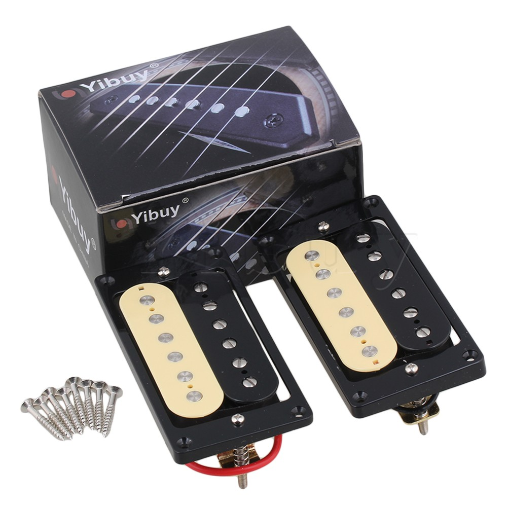 Yibuy  2 x Humbucker Double Coil Electric Guitar Pickups one black one cream<br><br>Aliexpress
