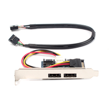 Cool Dual Power eSATA (esata+usb) 12V+5V to Dual SATA 2.0 adapter with 9pin USB cable #74941(China)
