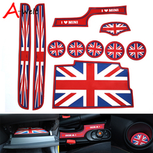 10pcs/set Silicone red union jack car cup gate Siliconeslot mats For mini cooper s one F56 interior accessories car-styling(China)
