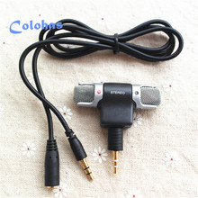 Wholesale 10Pcs/Lot 3.5mm HD Sound Portable Mini Microphone with Extension Audio Cable for iPhone Samsung MP3 Sony Laptop Tablet