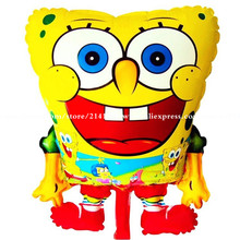 30pcs/lot 58*43cm inflatable animal Red Feet Sponge Bob Shape foil balloons Spongebob Birthday Party Supplies