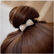 New Sweet White Pearl Rhinestone Bow Knot Hairbands Elastic Hair bands for Girls Woman JWD03(China)
