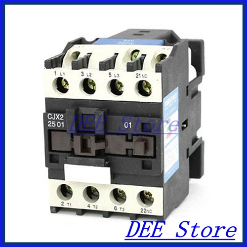 35mm DIN Rail Mounted 3P+1NC 24V Coil 25A AC Contactor CJX2-2510<br><br>Aliexpress