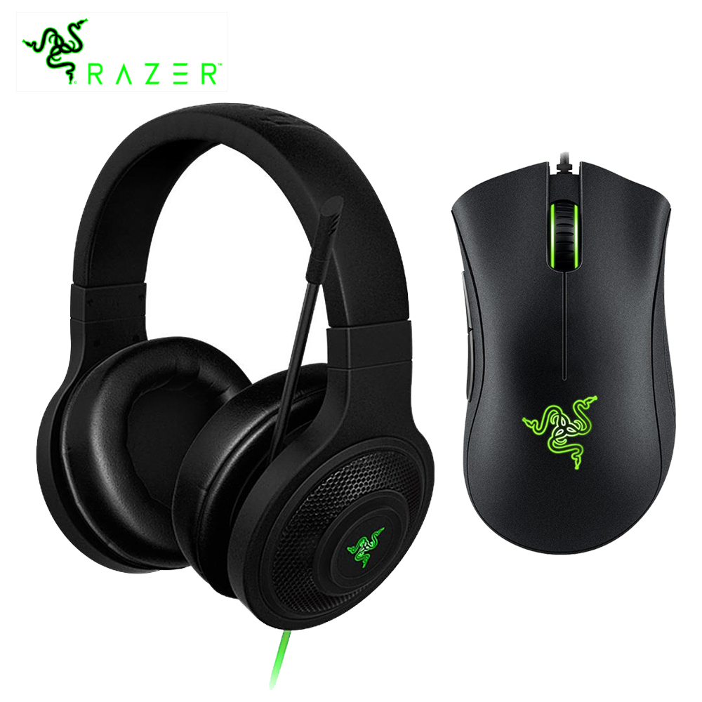 Razer Kraken Essential Headphone Headset With Mic Razer DeathAdder Essential 6400DPI Gaming Mouse for PC/Laptop/Phone Gamer (China)