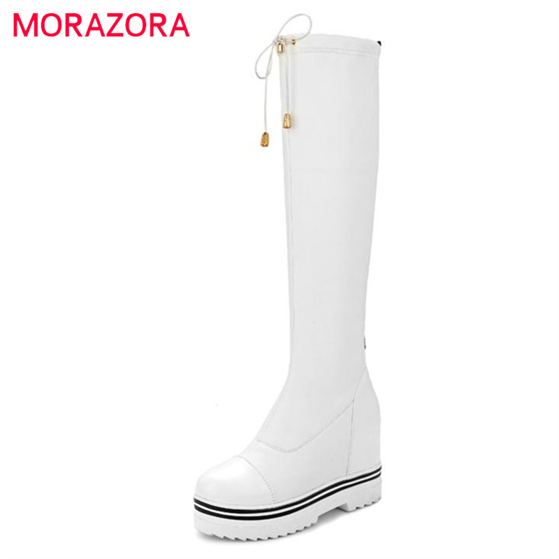 MORAZORA Over the knee boots fashion women platform long boots spring autumn big size 34-43 PU soft leather boots<br>