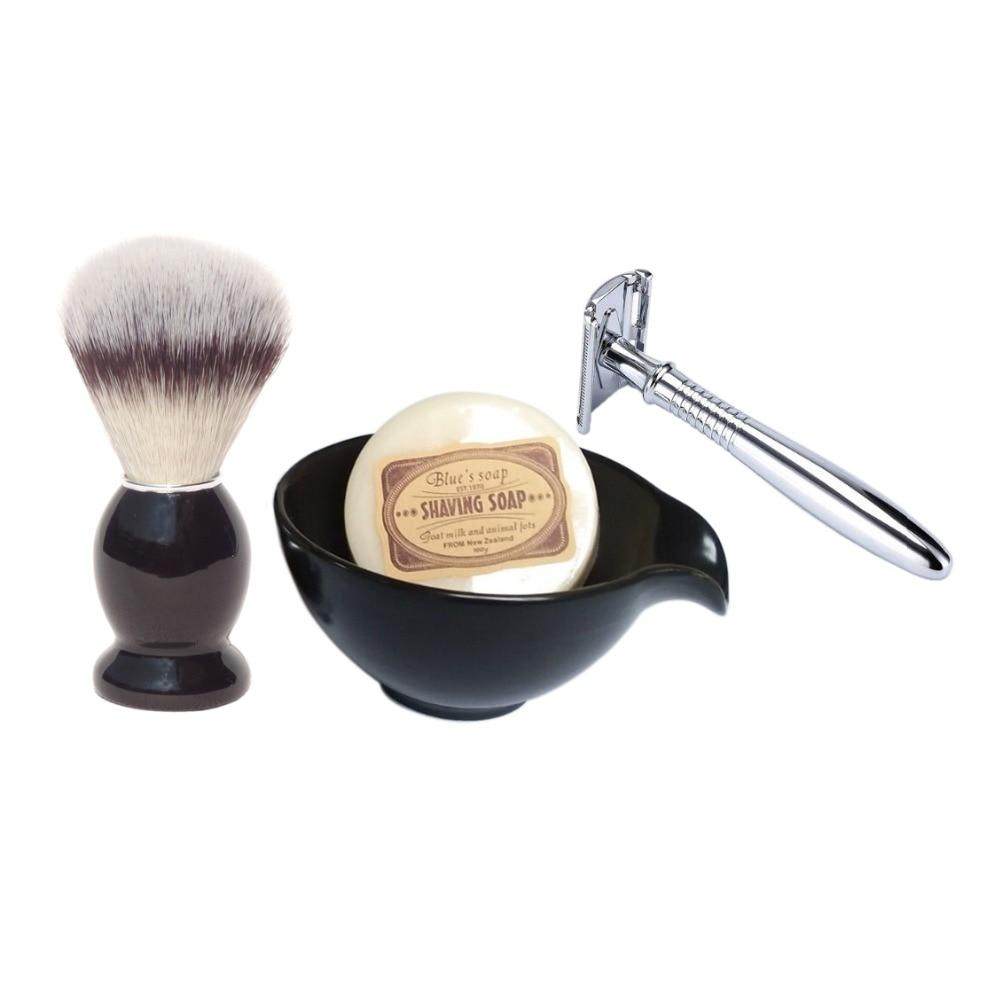 4pc/set Double Edge Safety Shaving Straight Razor Brush and Beard Shave Soap Bowl<br>