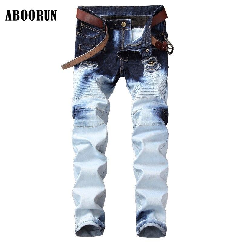 ABOORUN Mens Pleated Biker Jeans Distressed Motocycle Hip Hop Pants Washed Ripped Jeans W1088Îäåæäà è àêñåññóàðû<br><br>