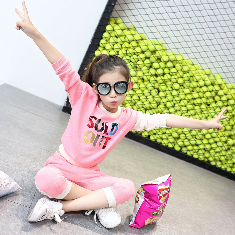 Korean Trousers Long Suit Childrens Wear New Child Sequins Applique Letters English Two Pieces Kids Clothing Sets Grey Pink<br>