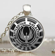 Steampunk US classical movie Battlestar Galactica Pendant Necklace glass 1pcs/lot mens handmade jewelry dr who chain cosplay toy