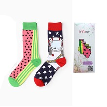 4 pairs Happy Socks Colorful Gradient hit color British Style Cotton Sox Men Harajuku Casual Business Socks Male HP05(China)