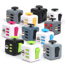 Mini Fidget Cube 9 Colour Anti Stress Vinyl Desk Toy Keychain Squeeze Puzzle Magic Cube With Box Gift For Children(China)