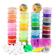 36 Color Colored Play Dough Ultra Light Air Dry Jumping Foam Clay Soft Bright Playdough Plasticine With Mold Tool Set(China)