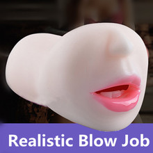 Realistic Blow Job Deep Throat Mouth Oral Male Masturbator Adult Products Artificial Mouth With Tongue Teeth Sex Toys For Men(China)
