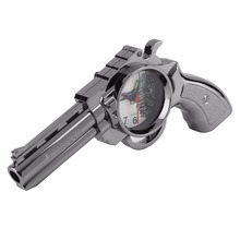 Hot Sale! Plastic Creative Kids Pistol Gun Alarm Clock Table Clock Home Office Decoration Gift Silver Ornaments Desk Accessories