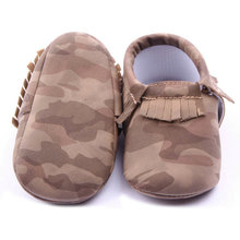 Baby Girl Boy Camouflage Crib Shoes Toddler Tassel Soft Slippers Shoes 0-12M(China)