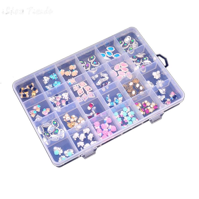 ONNPNNQ Clear Plastic 24 Slots Adjustable Jewelry Nail Art Rhinestone Empty Storage Box Case Craft Travel Organizer Bead Holder1