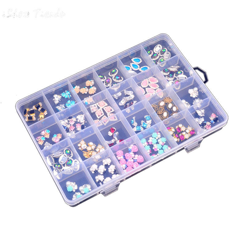 ONNPNNQ Clear Plastic 24 Slots Adjustable Jewelry Nail Art Rhinestone Empty Storage Box Case Craft Travel Organizer Bead Holder1