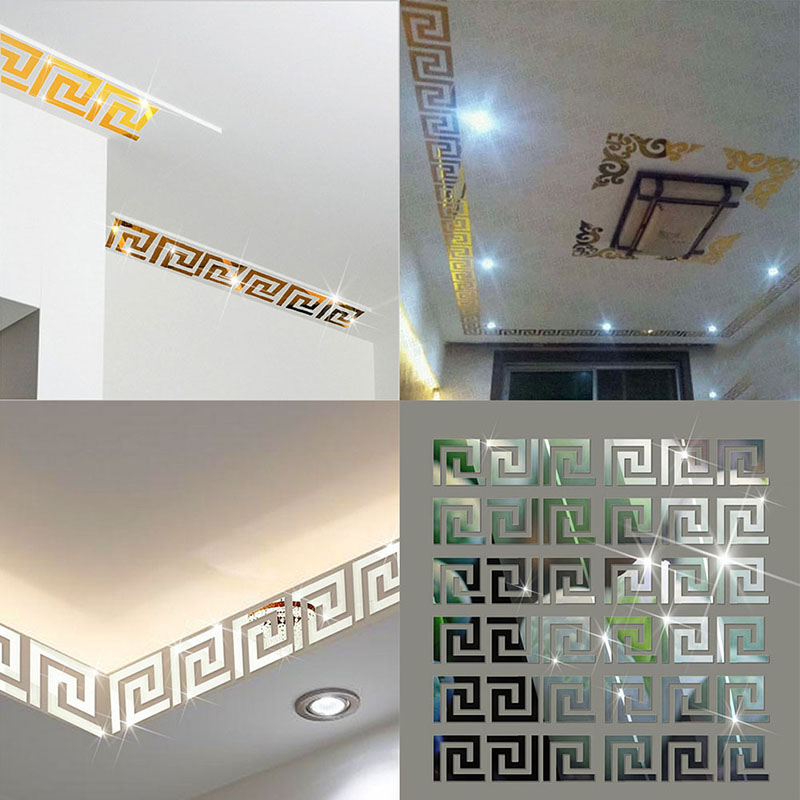 Hot Sales Factory Price! 10pcs Modern Geometric Mirror-Like Reflective Wall Border Sticker for Bedroom Living Room Dining(China (Mainland))