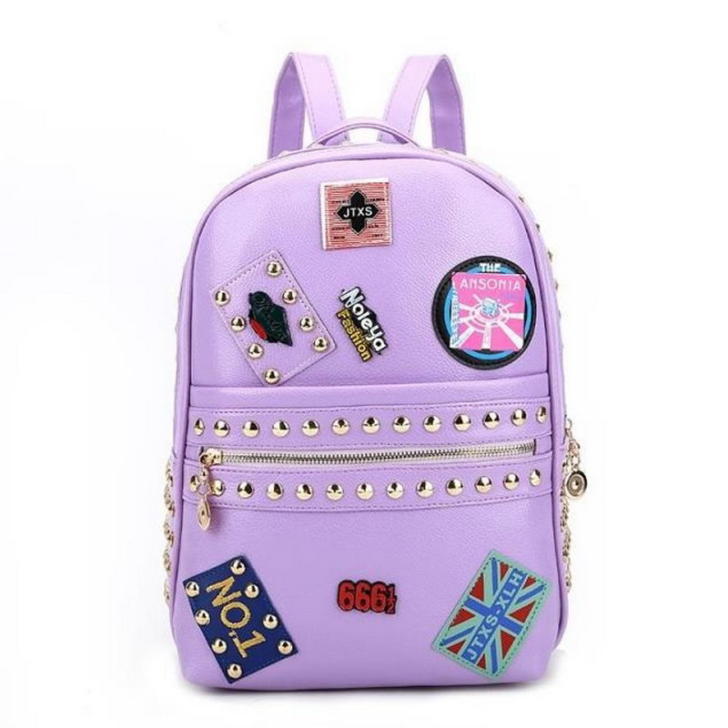 2017 Unique Trendy Rivet Badge Womens Leather Backpack Schoolbags School bags For Girl Teenagers Ladies Casual Travel bag DF529<br><br>Aliexpress