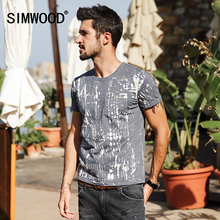 SIMWOOD 2017 Summer New T Shirt Men short Sleeve O neck T-Shirts Male 100% Cotton High Quality Slim Fit Print Fashion TD1125(China)