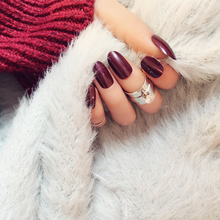 New Arrival 24pcs Wine Red Solid Fake Nails Oval Short Full Fingers Decorations Tips Acrylic Tips faux ongles with Glue Sticker