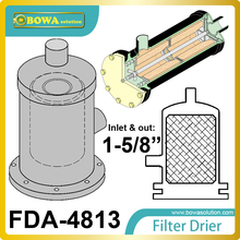 FDA-4813 replaceable core filter driers are designed to be used in both the liquid and suction lines of  water chiller systems.