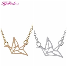 New Item Hot Sale Gold Origami Crane necklaces & pendants Origami Bird Necklace Cute Dove Necklace XL006(China)
