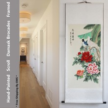 EMS art Hand painted rice paper Chinese ink watercolor flower and birds peony pigeon peace dove feng shui scroll painting murals