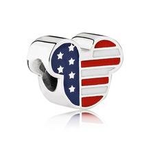 ROCKART 925 Sterling Silver Mouse Cartoon USA Beads with Red,White and Blue Enamel Charm Fits European Bracelets Necklaces & Pen