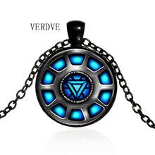 3 Color Fashion Movie Series Avengers Iron Man Arc Gem Glass Time Captain America charm necklace(China)